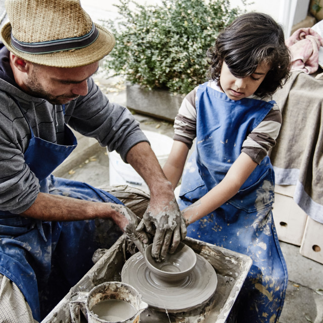 """First steps in pottery"" stock image"