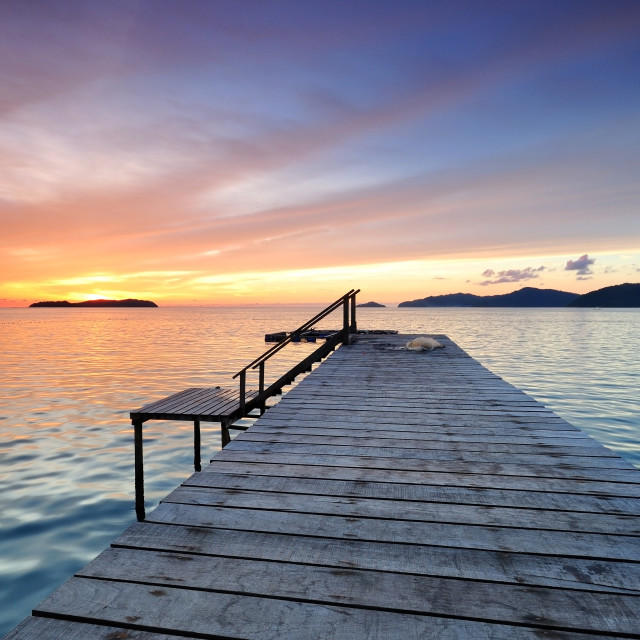 """Sunset by the jetty, Sabah Borneo"" stock image"