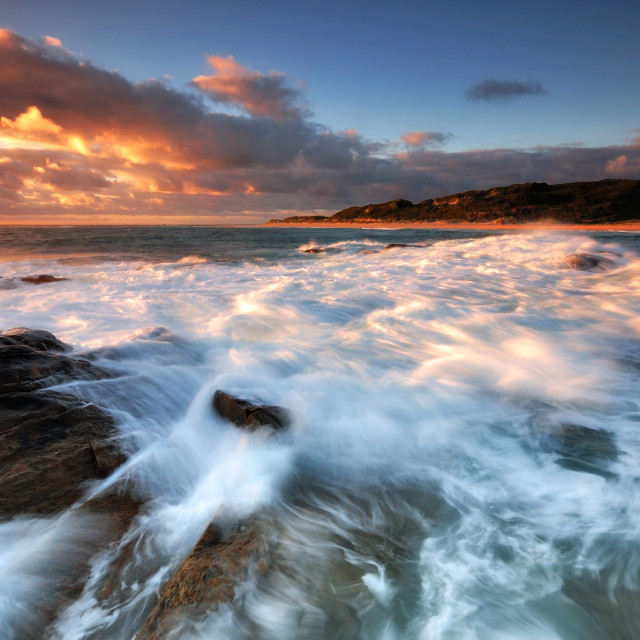 """Sunset and waves in Margaret River"" stock image"