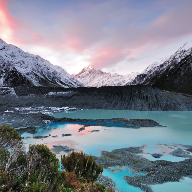 """Mount Cook at Sunset, New Zealand."" stock image"