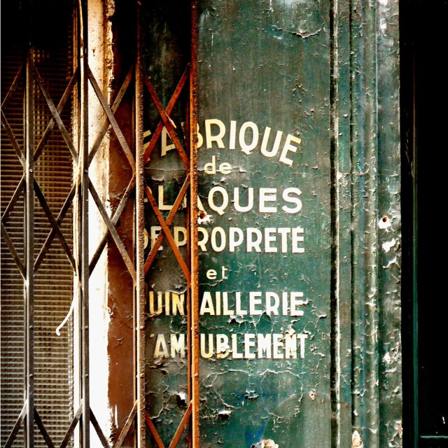 """A green Parisian door"" stock image"