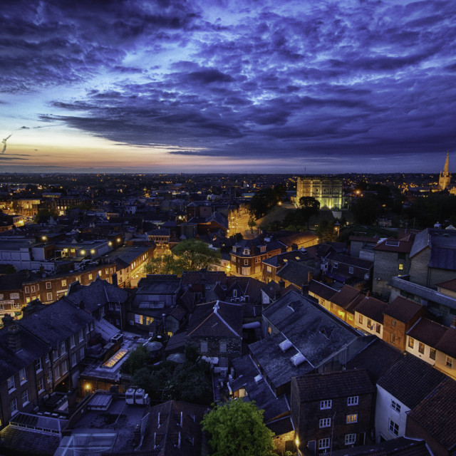 """""""Norwich at night"""" stock image"""