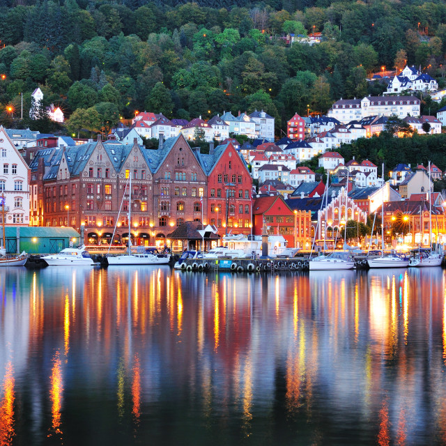 """""""Reflection of Bergen at night time, Norway"""" stock image"""