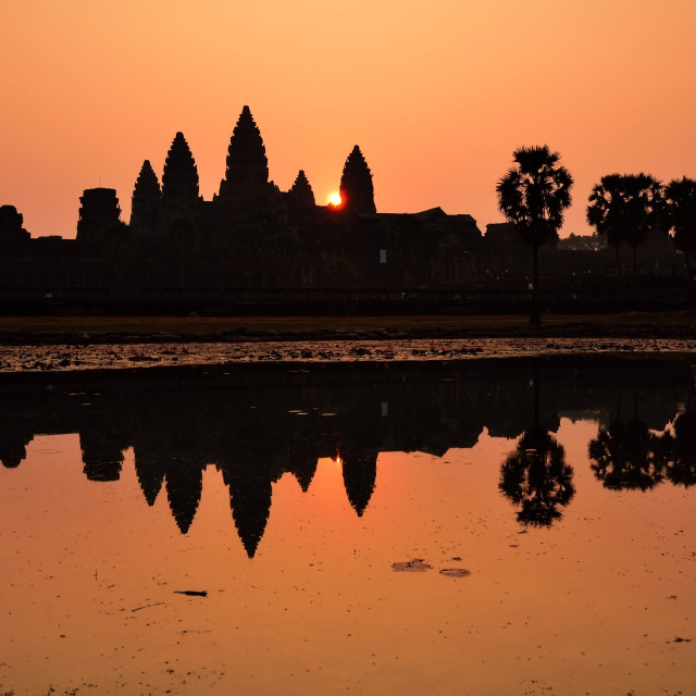 """""""Silhouette of Angko Wat Temple during sunrise"""" stock image"""