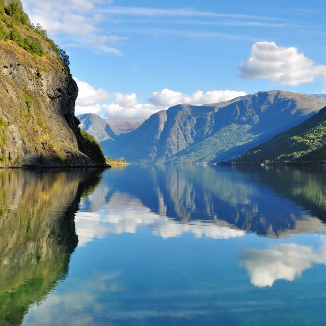 """Scenic view of Fjords in Flam, Norway"" stock image"