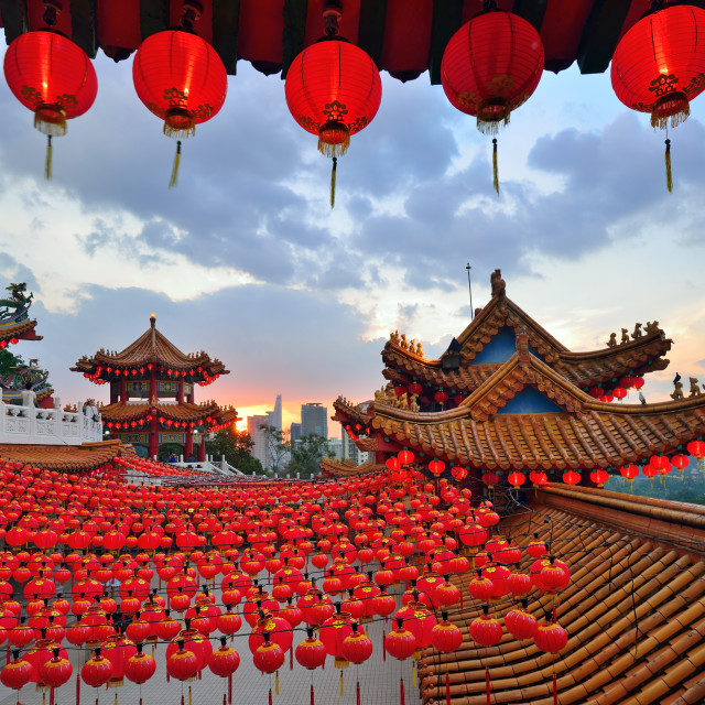 """Lanterns decoration during sunset in Thean Hou Temple"" stock image"