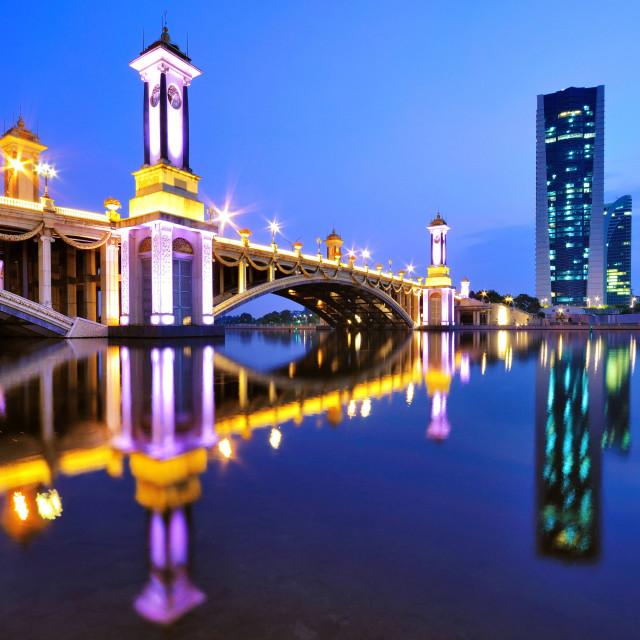 """Scenic Bridge at night in Putrajaya, Malaysia."" stock image"