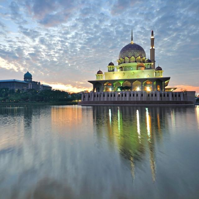 """""""Sunrise at Putrajaya mosque"""" stock image"""