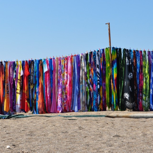 """Scarfs at beach"" stock image"