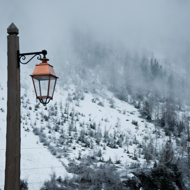 """Lamp in the snow"" stock image"