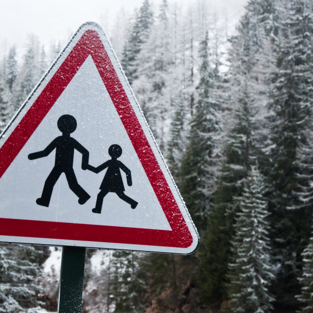 """Pedestrian sign in the Snow"" stock image"