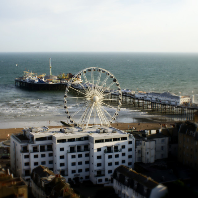 """Brighton Wheel, and the Palace Pier in the background"" stock image"