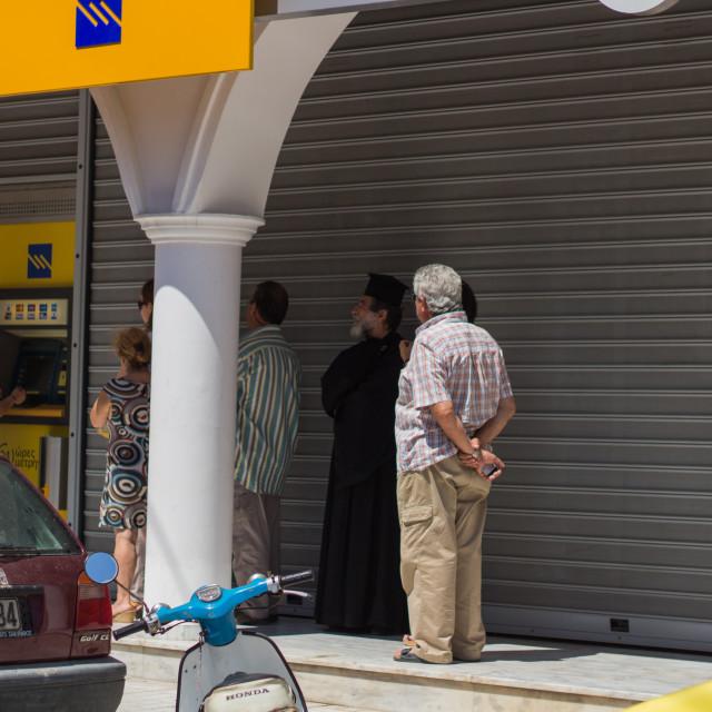 """ATM queue - Greece"" stock image"