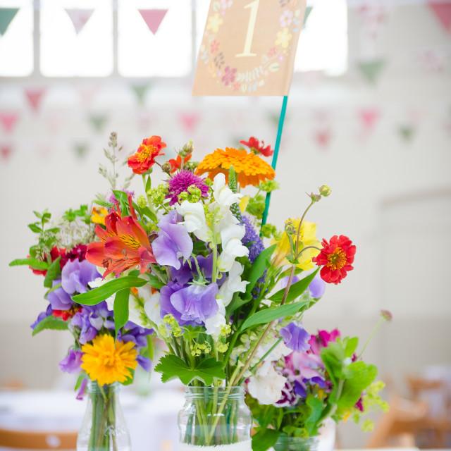 """Vintage wedding table decorations."" stock image"