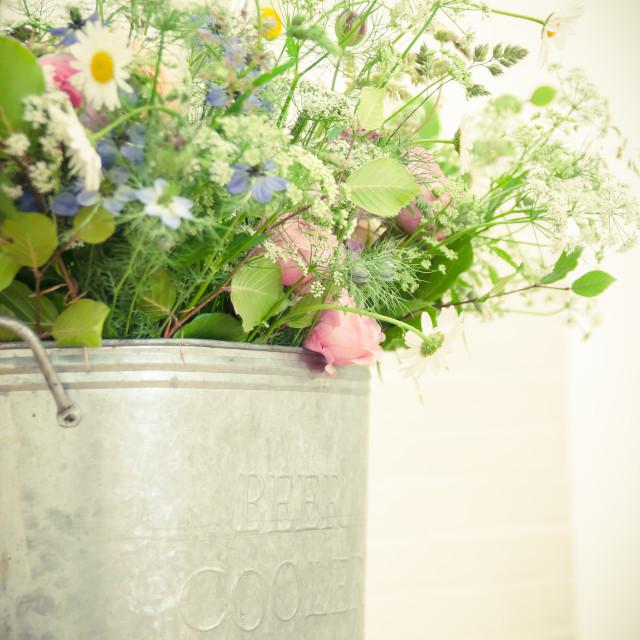 """Wildflower Vintage wedding arrangement"" stock image"