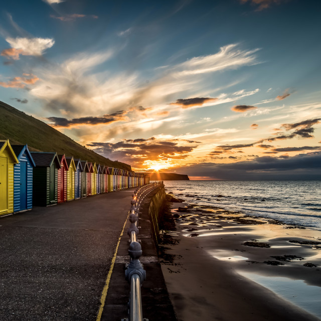 """Whitby Beach Huts"" stock image"