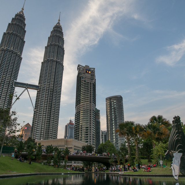 """Beautiful blue hour at KLCC Park, Malaysia"" stock image"