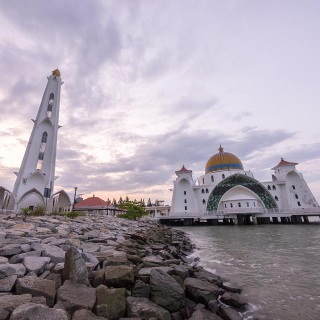 """""""Masjid Selat Melaka or Malacca Straits Mosque"""" stock image"""