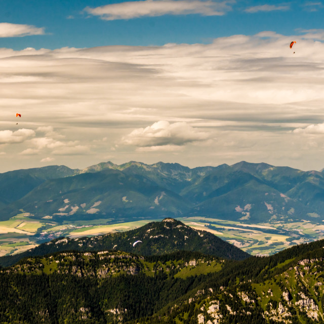 """""""3 paragliders"""" stock image"""