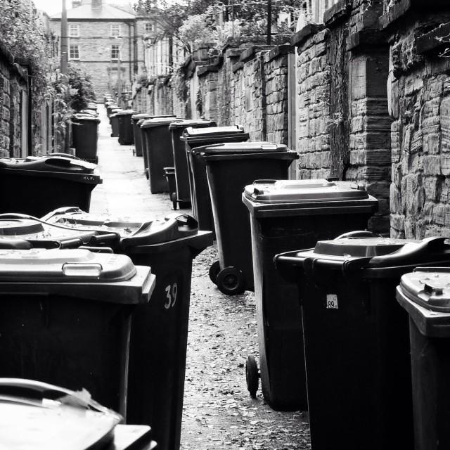 """Where's tha bin! Saltaire, West Yorkshir, England."" stock image"