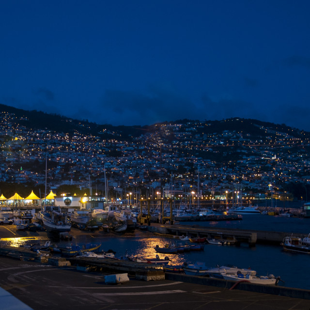 """Evening Lights in Funchal, Madeira"" stock image"