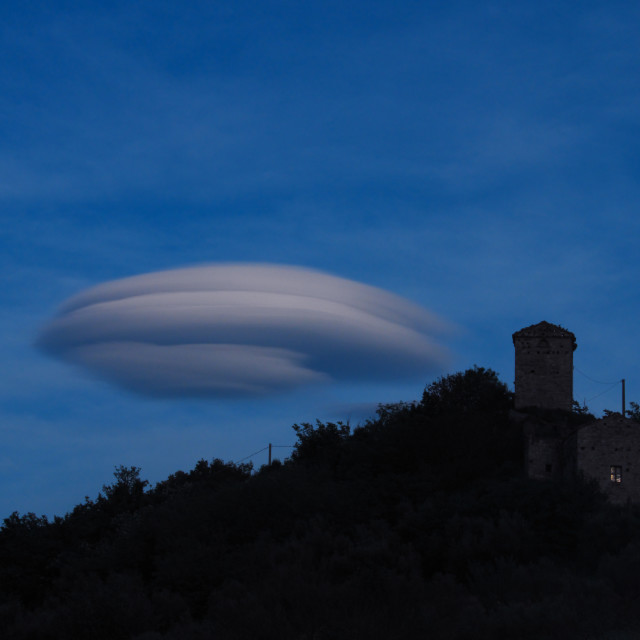 """unusual moon up to the castel"" stock image"