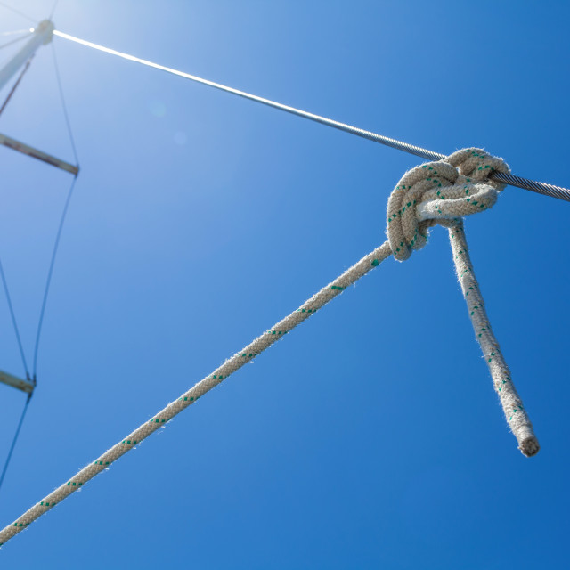 """Knot of the rope on on sailing yacht travel from Ko Samui to Ko"" stock image"