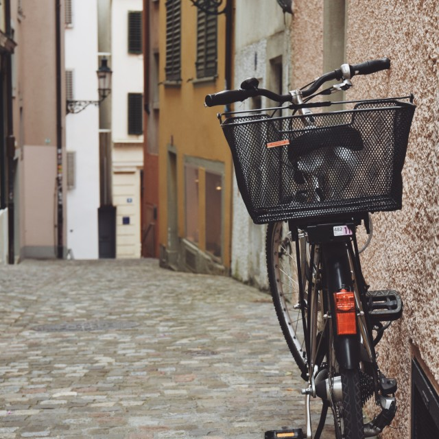 """""""bicycle in the alley"""" stock image"""