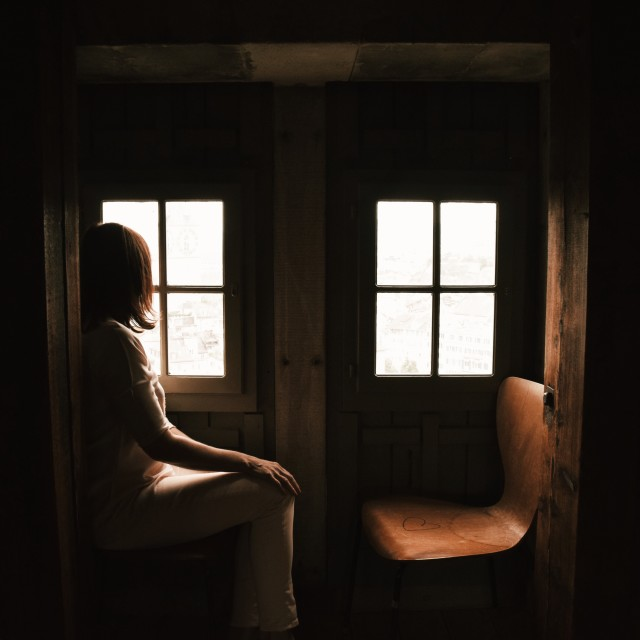 """""""Lady by the window"""" stock image"""