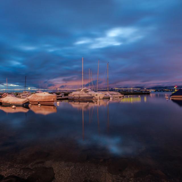 """""""Sailboats At Dawn"""" stock image"""