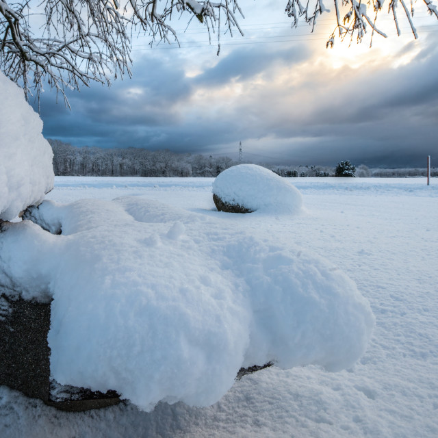 """Snowed Bench"" stock image"