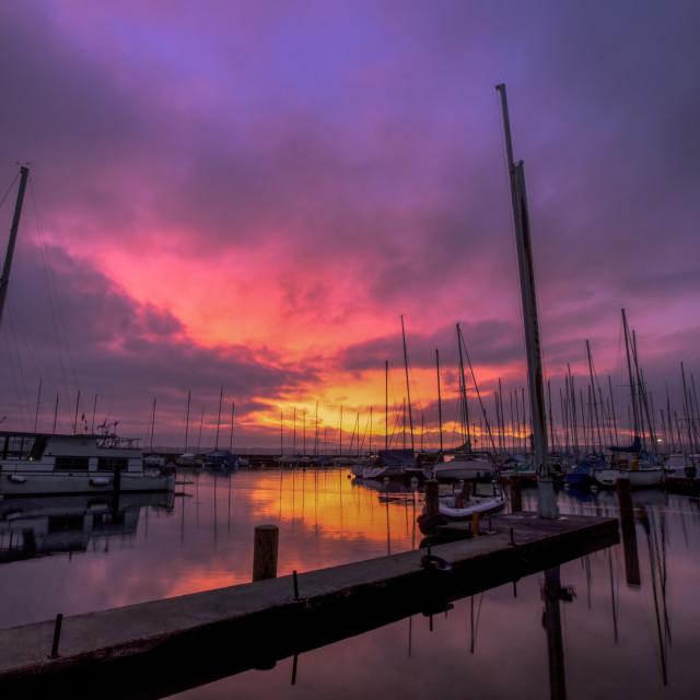 """Sailboats And Sunrise"" stock image"