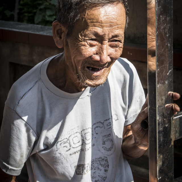 """Old Vietnamese man"" stock image"