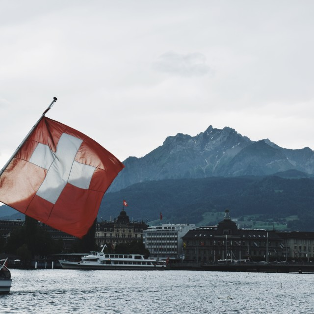 """""""the flag and Mount Pilatus"""" stock image"""