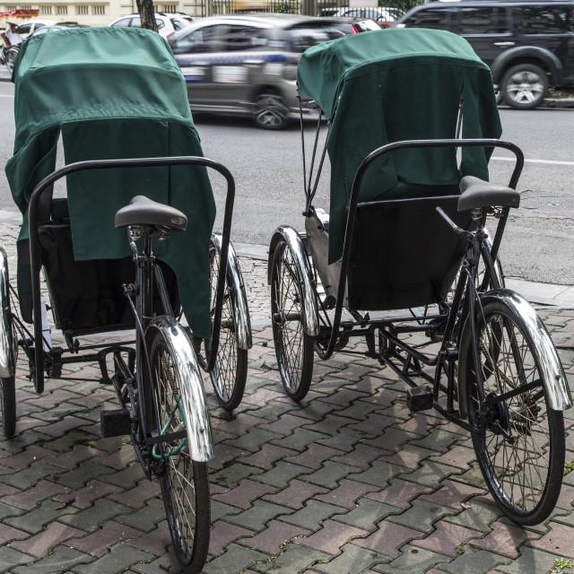 """""""A pair of Rickshaws."""" stock image"""