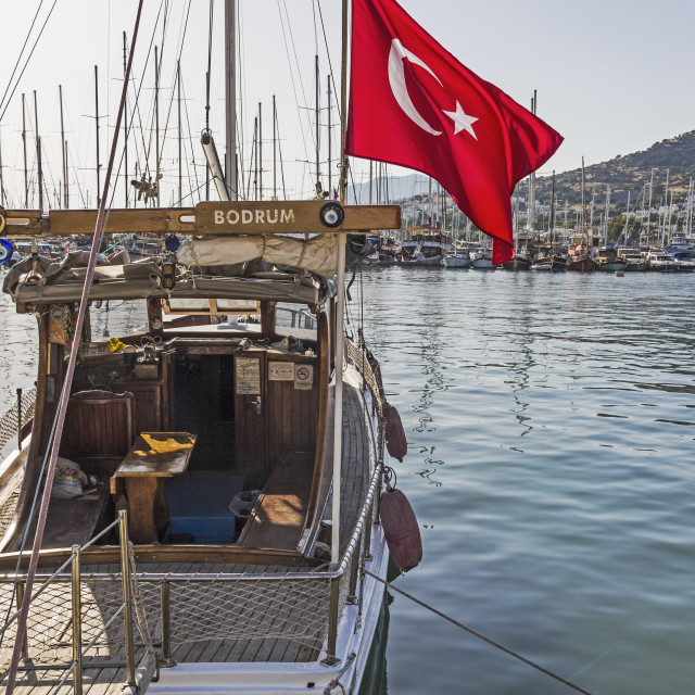"""Leisure boat in Bodrum marina, Turkey"" stock image"