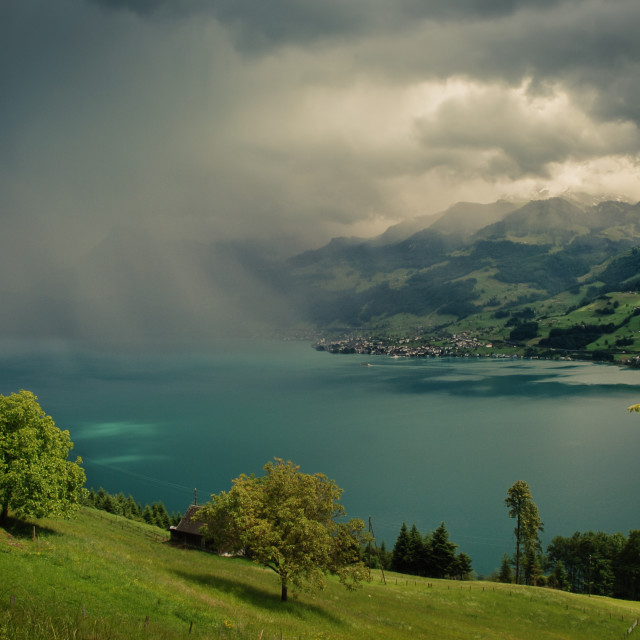 """Arising storm over lake lucerne"" stock image"