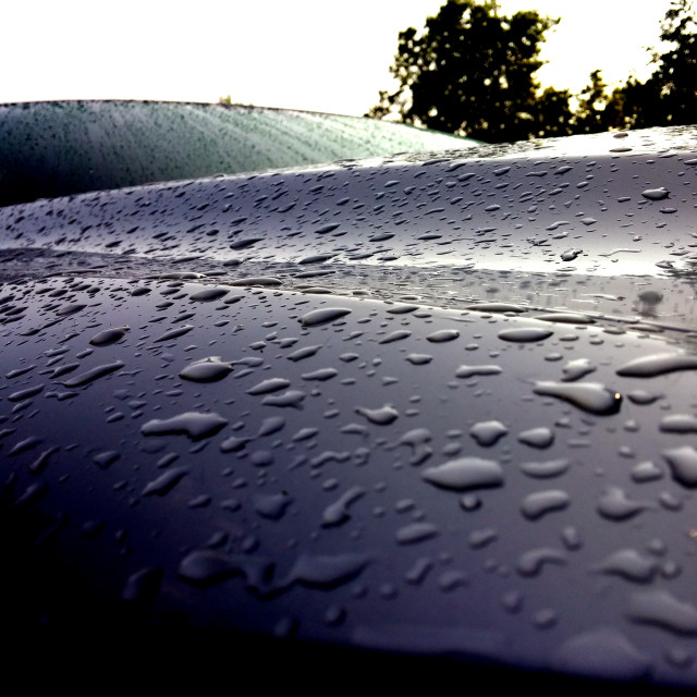 """Morning rain on the Lexus"" stock image"