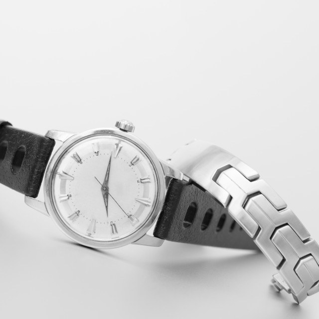 """Black and white angled watch with steel bracelet"" stock image"