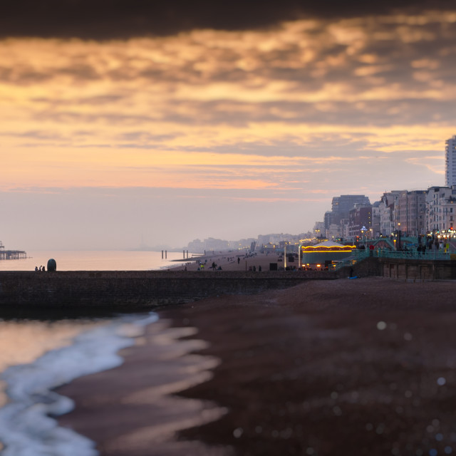 """Brighton Beach and Seafront at Dusk"" stock image"