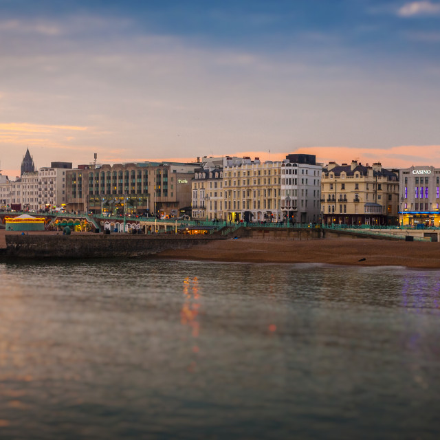 """""""Brighton Beach and Seafront at Dusk"""" stock image"""