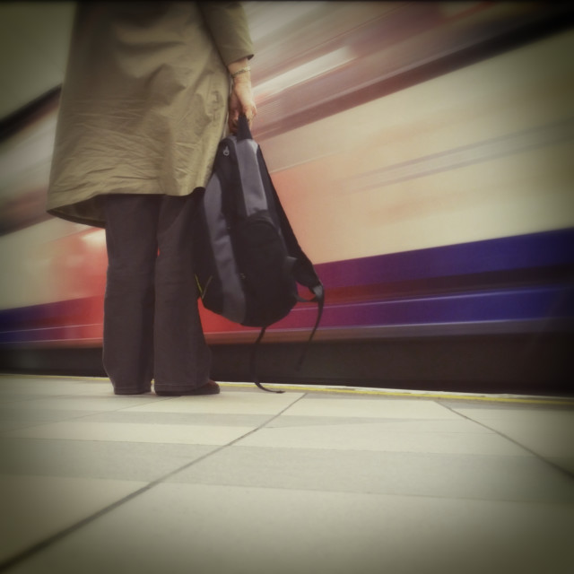 """Commuter Waiting for a London Underground Train"" stock image"