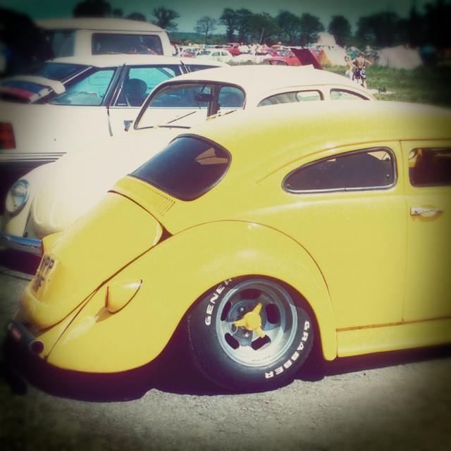 """Volkswagen Beetle, Santa Pod Raceway, Bedfordshire, Britain - 1988"" stock image"