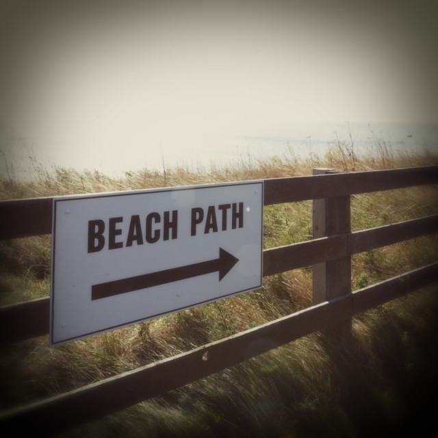 """Beach Path Sign, Pakefield Beach,Suffolk, Britain - 2009"" stock image"