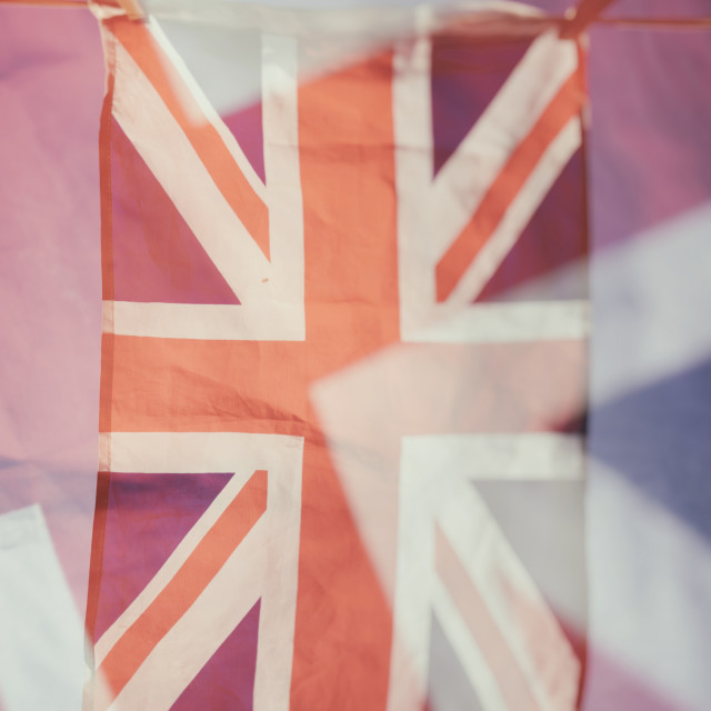 """Union Jack Flag Hanging on a Washing Line"" stock image"