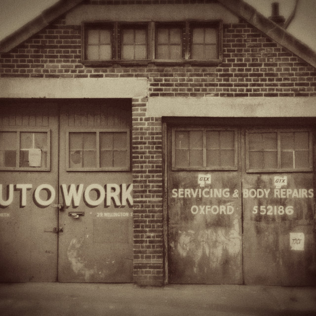 """Old Fashioned Garage Doors"" stock image"