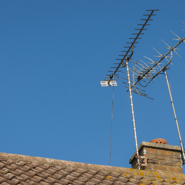 """Television Aerials on a Chimney Stack"" stock image"