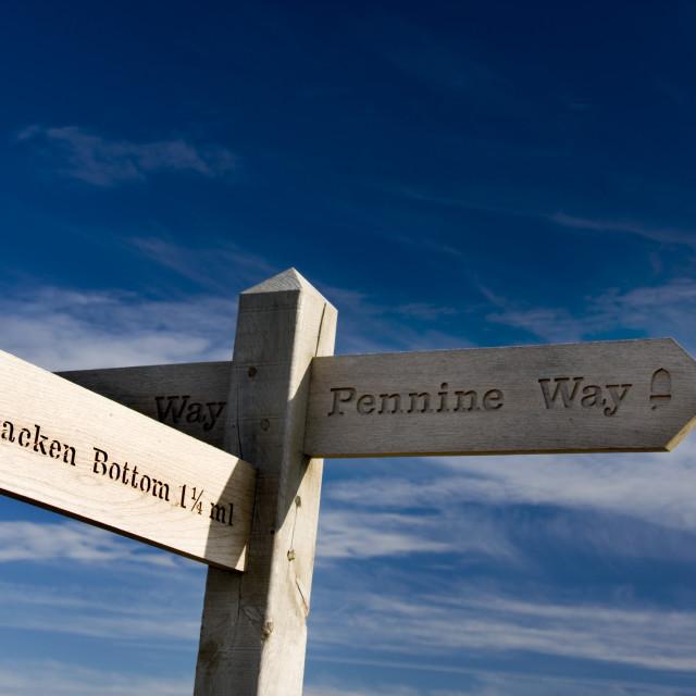 """Pennine Way Signpost, Yorkshire dales."" stock image"