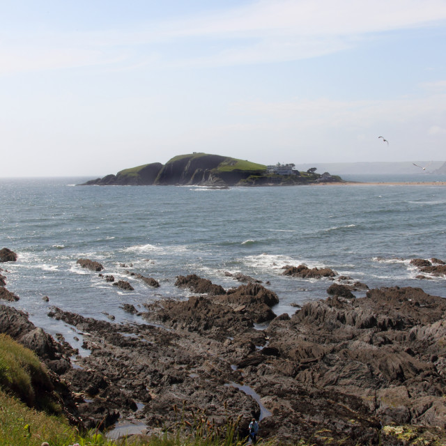 """Burgh Island from Bantham"" stock image"