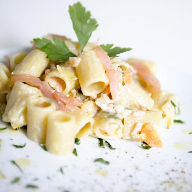 """Pasta with salmon"" stock image"